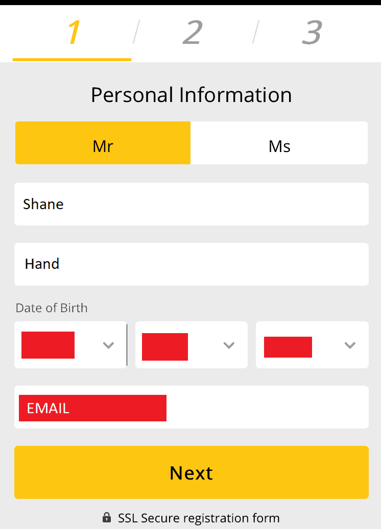 Screenshot of where you enter your name, date of birth and email address in the sign-up process at 10CRIC