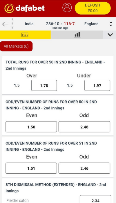 Dafabet has an excellent selection of cricket betting markets