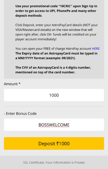 Screenshot of the fourth step to depositing at 10CRIC