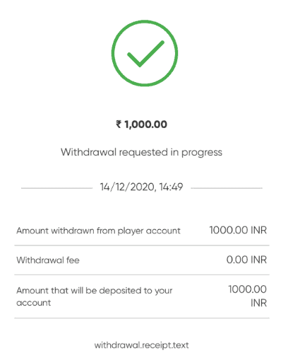 Screenshot of the fifth step to withdrawing