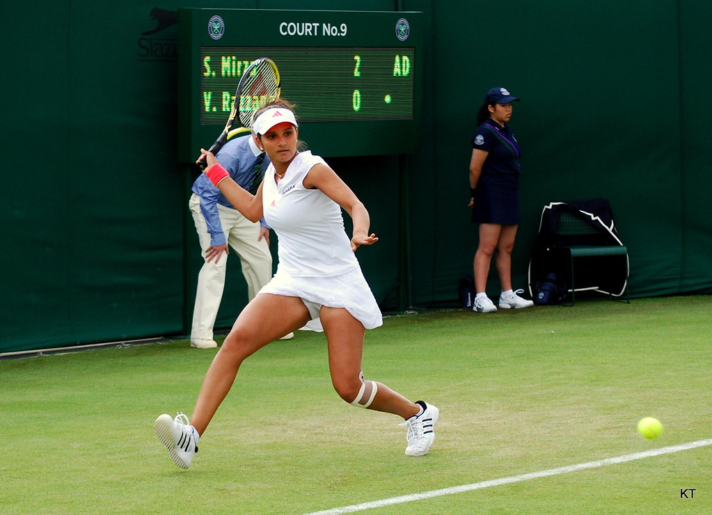 Sania Mirza playing tennis