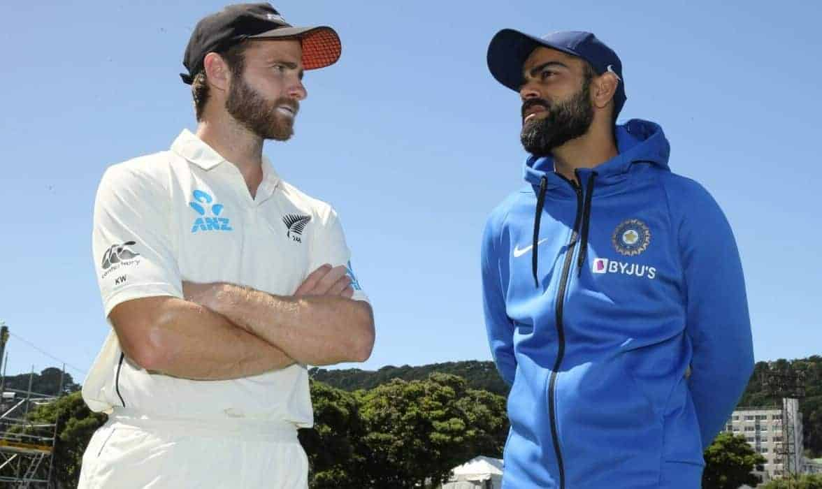 Captains Kane Williamson and Virat Kohli pose ahead of the ICC Wolrd Test Championship