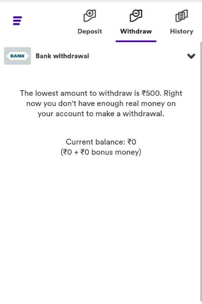 Withdraw your funds from your Casumo account by entering your payment options