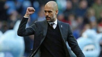 Pep Guardiola celebrating. He is confident of a win in the Man City v Lyon Champions League quarter-final