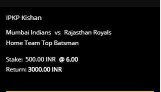10CRIC betting slip for Kishan to be Top MI Batsman in the game between Mumbai and Rajasthan