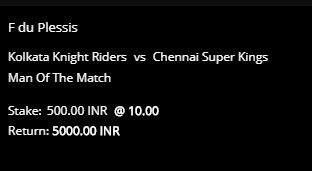 10CRIC betting slip for Man of the Match market for KKR vs CSK