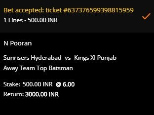 10CRIC betting slip for Pooran to be the KXIP top batsman in the SRH vs KXIP match