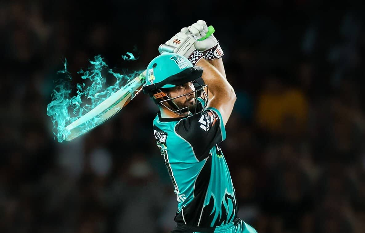 Ben Cutting of Brisbane Heat with a flaming blue bat. Ben Cutting will be transferring to Sydney Thunder in the 2020-21 Big Bash League