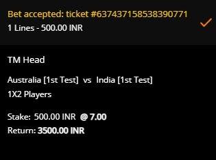 Slip Taruhan Tes Pertama India Tour of Australia di 10CRIC