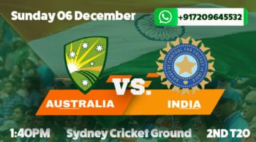 India Tour of Australia 2nd T20 Betting Tips & Previews December 6th 2020