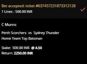Perth Scorchers vs Sydney Thunder Betting Slip at 10CRCIC