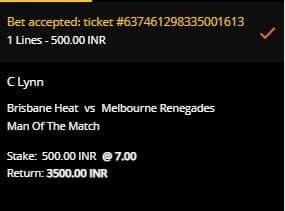 Brisbane Heat v Melbourne Renegades betting slip at 10CRIC