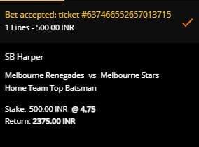 Melbourne Renegades v Melbourne Stars betting slip at 10CRIC