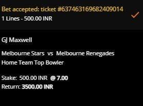 Slip taruhan Melbourne Stars v Melbourne Renegades di 10CRIC