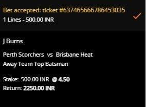 Perth Scorchers v Brisbane Heat Betting Slip di 10CRIC