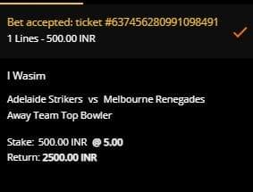 Adelaide Strikers v Melbourne Renegades Betting Slip at 10CRIC