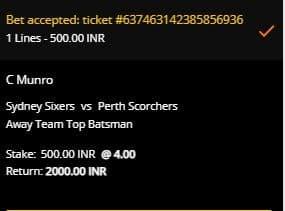 Sydney Sixers v Perth Scorchers Betting Slip at 10CRIC