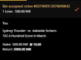 Taruhan Sydney Thunder v Adelaide Strikers di 10CRIC