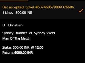 Slip Taruhan Sydney Thunder v Sydney Sixers di 10CRIC