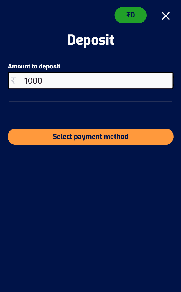 Screenshot of where you enter the amount you wish to deposit