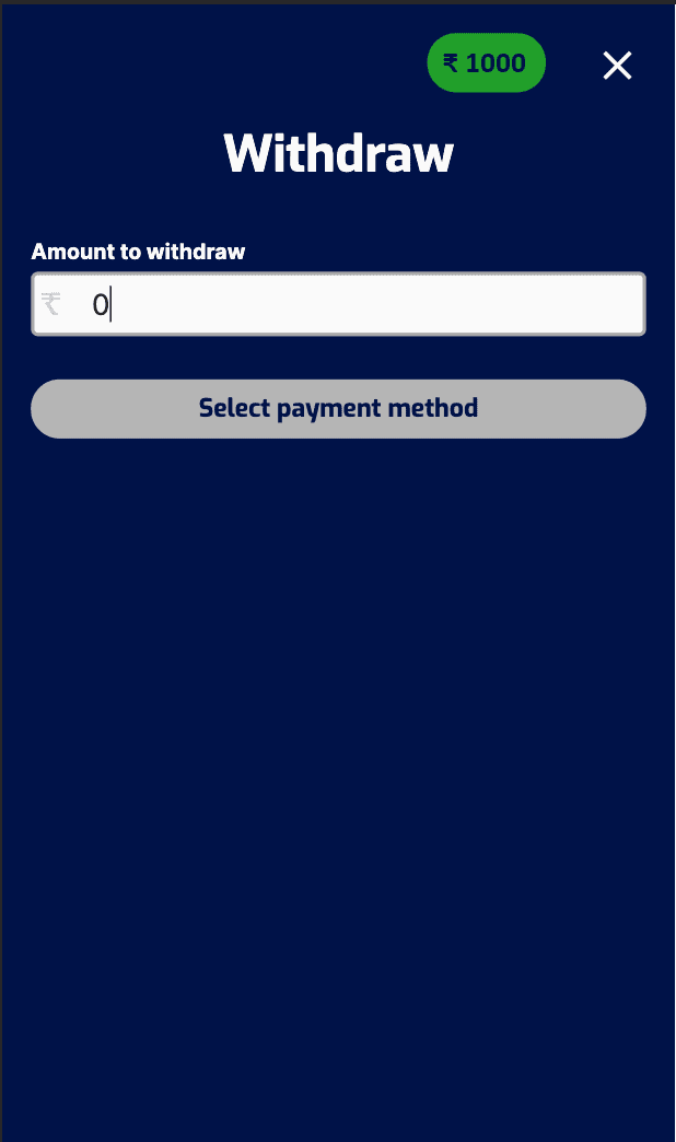 Screenshot of the first step to withdrawing at Pure Win