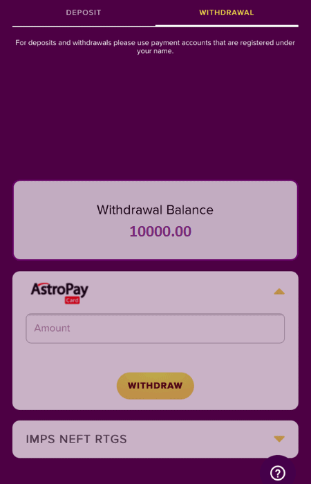 Step 2 in how to withdraw at Bollybet