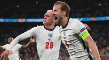 Harry Kane celebrating while playing for England in the Euros