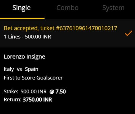 Italy vs Spain Betting Slip from 10CRIC - Hot Bet for the Euro 2020 Semifinal