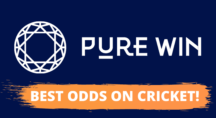 Pure Win logo describing how they have the best odds on cricket winner markets in India