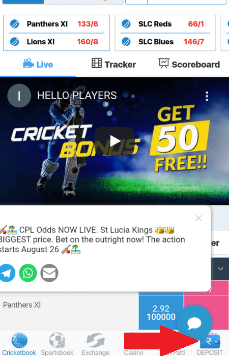 Screenshot of the first step to deposit at Indibet