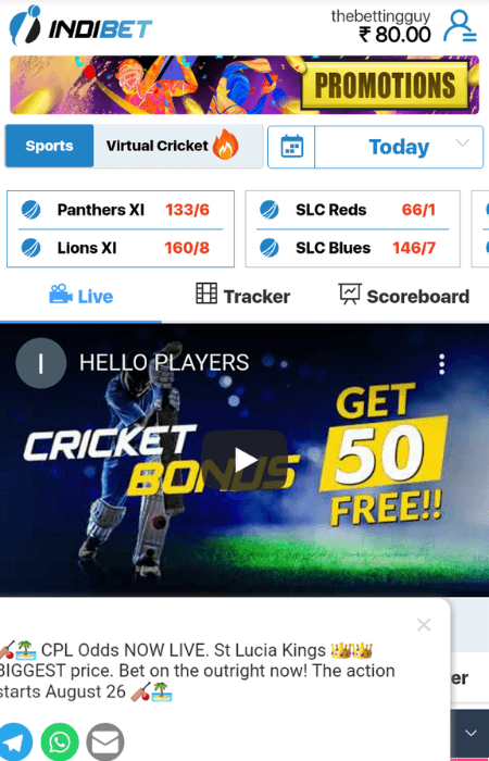 Screenshot of the final step when signing up to Indibet
